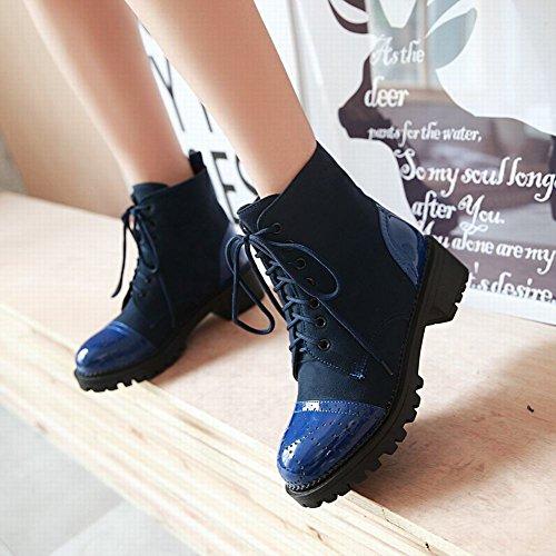 Carolbar Womens Lace-up Confort Mode Casual Mi-talon Bottes Courtes Bleu