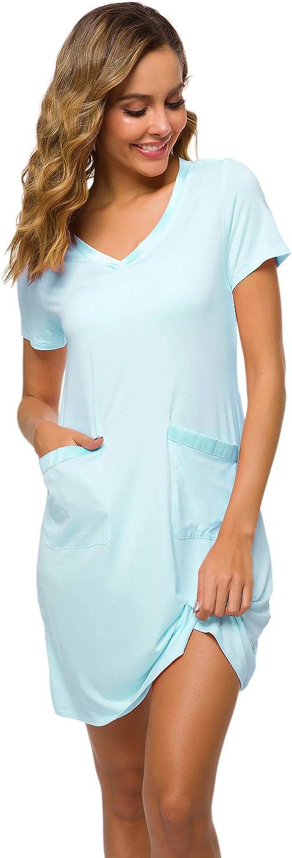 WiWi Womens Soft Bamboo Nightgowns Stretchy Nightwear Short Sleeve Sleepwear Casual V Neck Pajamas S-4X