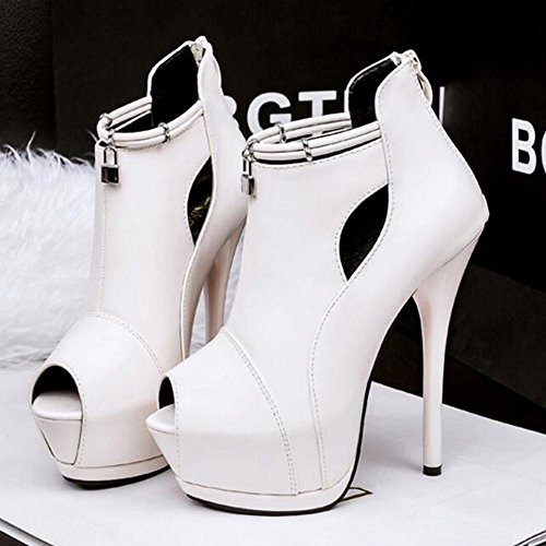 Platform Hollow Sandals Heels Nightclub High Fish Mouth 14cm Women Fine Waterproof White wqSpZFqUI