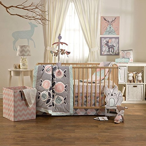Lolli Living 4-Piece Baby Bedding Crib Set with Sparrow Pattern. Complete Set with Quilt, 2 Fitted Sheets, and Bed Skirt. by Lolli Living