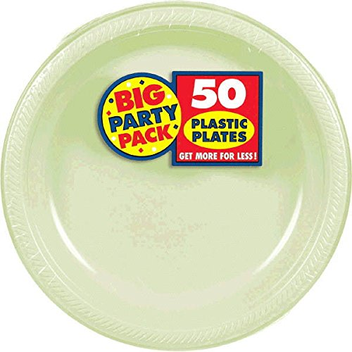 Amscan Reusable Round Leaf Green Plastic 10'' Pack 50 Party Supplies , 300 Pieces