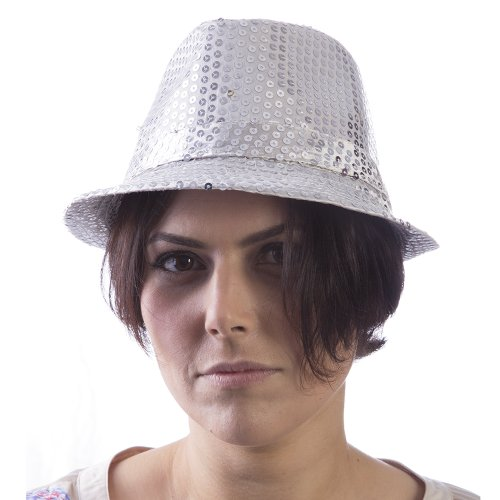 [HMS Las Vegas Showgirl Hat, Silvery White, One Size] (Vegas Showgirl Costumes)
