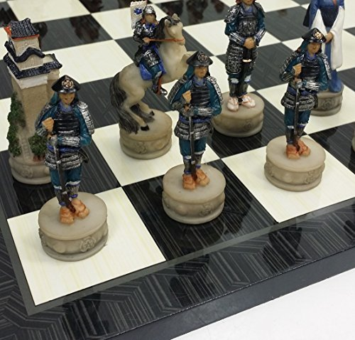 Japanese Samurai Warrior Oriental Chess Set Hand Painted W/ 17