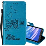 EnjoyCase Wallet Case for Huawei Y6 2019,Cut Funny Embossed Flower Owl Premium PU Leather Wrist Strap Magnetic Closure Bookstyle Protective Flip Cover for Huawei Y6 2019