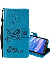 """EnjoyCase Wallet Case for iPhone 11 6.1"""",Cut Funny Embossed Flower Owl Premium PU Leather Wrist Strap Magnetic Closure Bookstyle Protective Flip Cover for iPhone 11 6.1"""""""