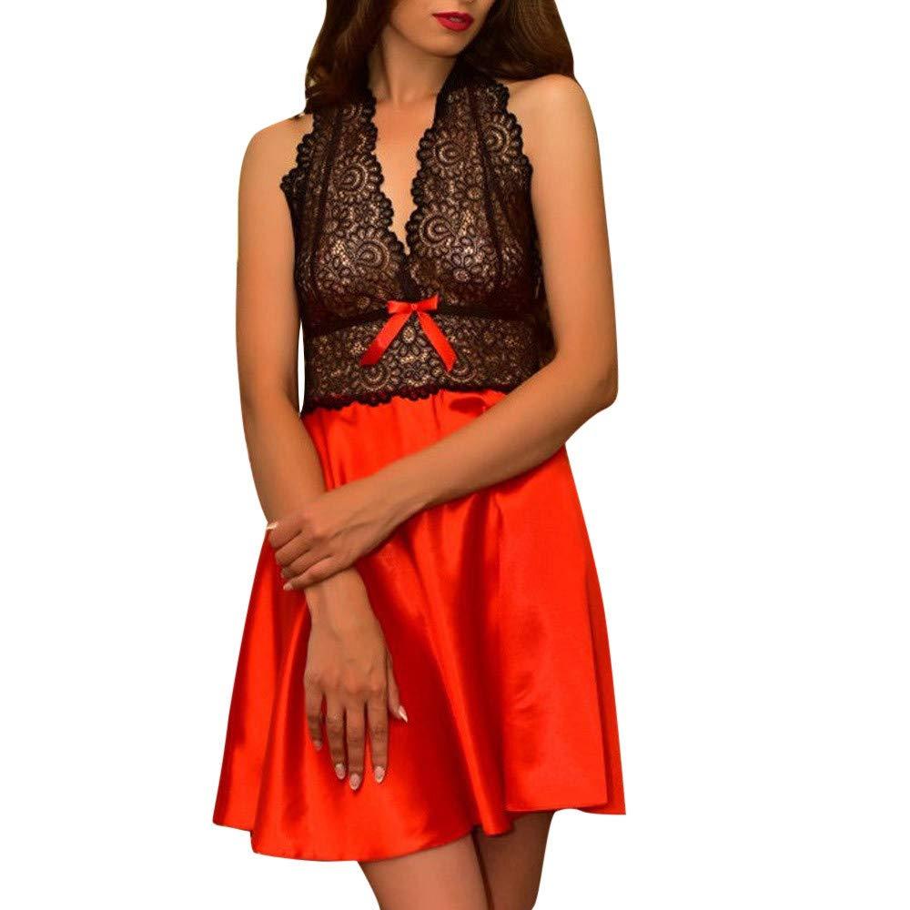 FINENICE Womens Babydoll Lingerie Set Plus Size Sleepwear Underwear Nightgown Red
