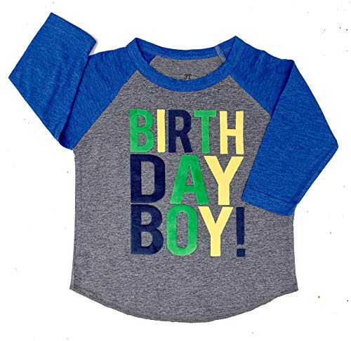SoRock Birthday Boy Toddler Kids T-Shirt (3/4 Sleeve Grey w/Royal Blue Sleeve (Runs a Size Large), 2T) (Birthday 3/4 Sleeve)