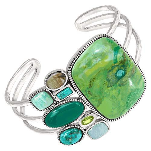 Silpada 'Lily Pad' Multi-Stone Cuff Bracelet in Rhodium-Plated Sterling Silver