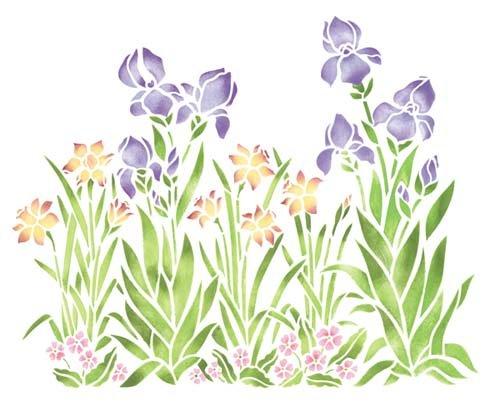 Small Iris, Daffodil and Violet Garden Wall Stencil SKU #156B by Designer (Small Daffodil)