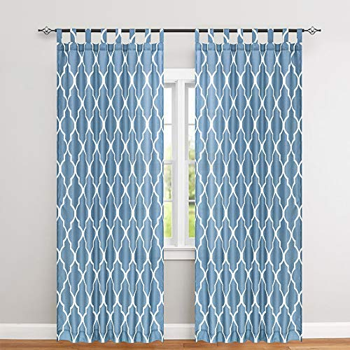 Moroccan Tile Printed Bedroom Curtains 84 Inches Length Quatrefoil Print Waterproof Tab Top Lattice Canvas Curtain Panels for Living Room 2 Panels Blue (Tab Curtains Buy Top)