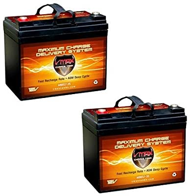 QTY2 VMAX857 AGM Deep Cycle Group U1 Battery Replacement for Electric Mobility Rascal 600F OUTDOOR SCOOTER 12V 35Ah Battery