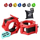 RitFit Pair of 2' Inch Pro Olympic Barbell ABS Locking with Quick Release Black Secure Snap Latch For 2-Inch Diameter Size Olympic Bars Set Of 2 Clamps (RED)(Free BAG !!!)