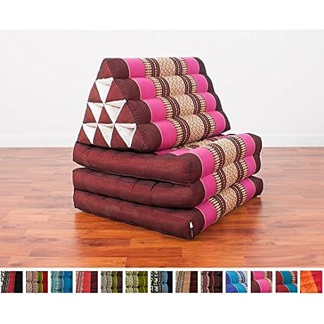 Leewadee Foldout Triangle Thai Cushion 67x21x3 Inches Kapok Fabric Auburn Pink Premium Double Stitched
