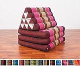 Leewadee Foldout Triangle Thai Cushion, 67x21x3 inches, Kapok Fabric, Auburn Pink