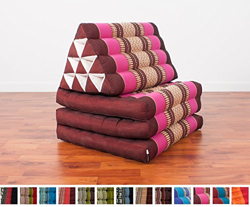 Leewadee Foldout Triangle Thai Cushion, 67x21x3 inches, Kapok Fabric, Auburn Pink by Leewadee