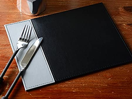Creative Tops Faux Leather Placemats Two Tone Table Mats, Set Of 4, Black/