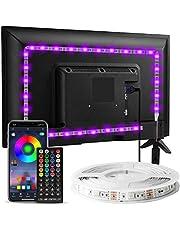 Enteenly Led-achtergrondverlichting van 3 m, geschikt voor 40-55 inch televisie en pc, bediening met app, afstandsbediening, RGB, USB-voeding