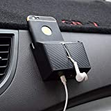 ZaCoo Carbon Fiber Texture Car Vent Storage Organizer, Phone Holder Glasses Holder Pen Holder Coin Holder Key Holder Car Organizer Pocket - with Double-Layer Sticker (Small)