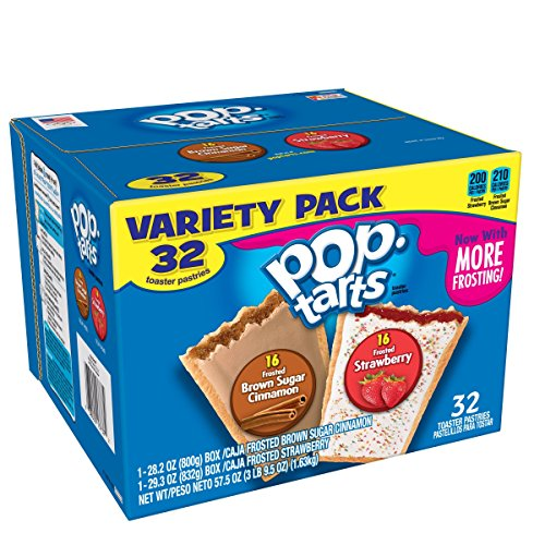 Pop-Tarts Breakfast Toaster Pastries, Flavored Variety Pack, Frosted Brown Sugar Cinnamon, Frosted Strawberry,...