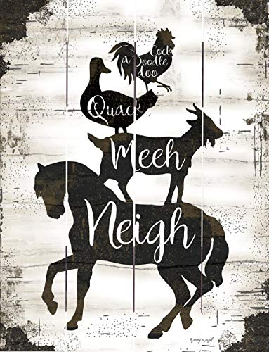 Rustic Pallet Art - Farmhouse Stack Neigh, Neeh, Quack, Cock A Doodle Doo (9 x 12) - Hand Made by ()
