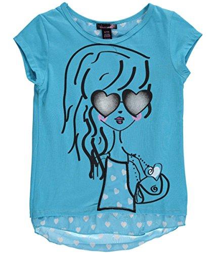 "Dream Star Big Girls' ""Heart Glasses"" Top - blue, 14"