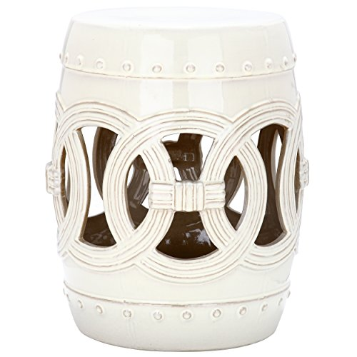 Safavieh Castle Gardens Collection Double Coin Cream Ceramic Garden Stool (Table Side Ceramic)