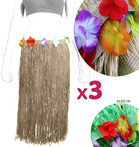 Natural Color Luau Hula Grass Skirts (3-Pack); Adult Size Green Skirts with Frangipani Flower Accents for Costume, Dress-Up & Beach / Hawaiian / Island Themed Parties (Hula Grass)