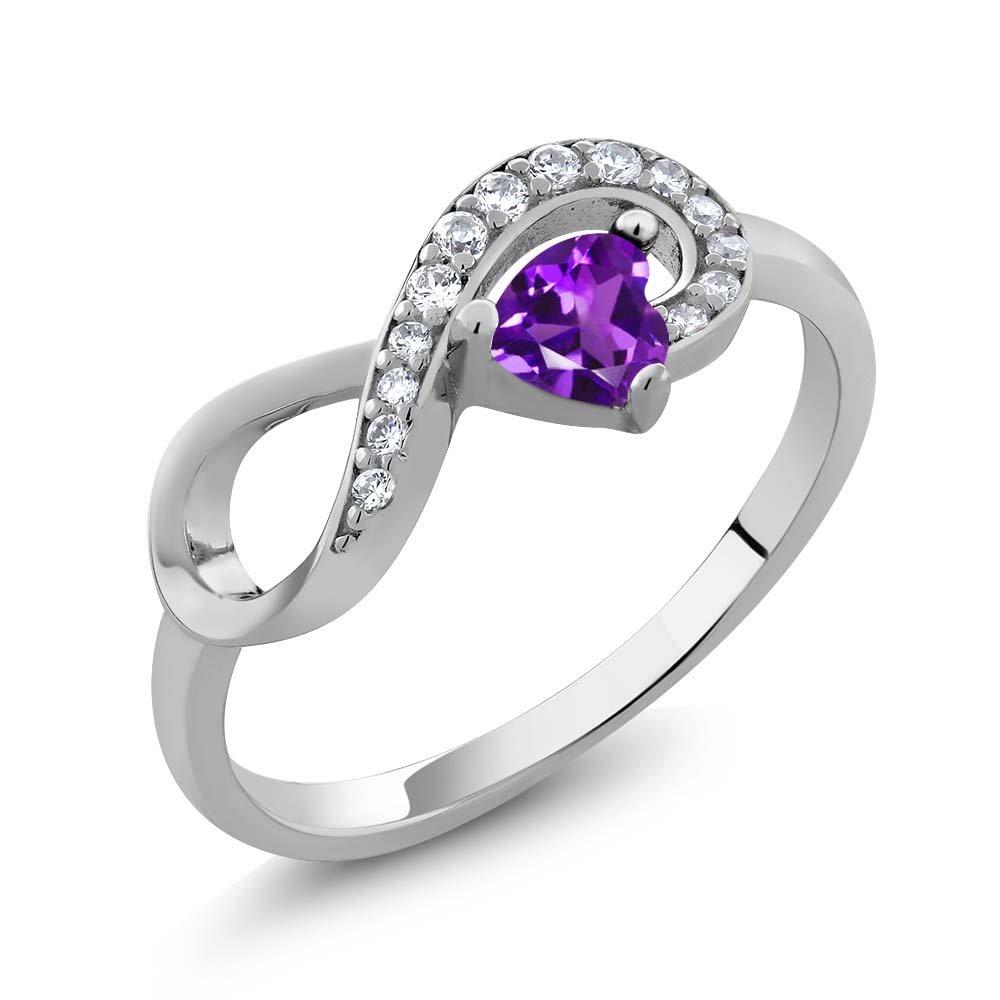 925 Sterling Silver Purple Amethyst Women's Infinity Ring 0.33 Ctw Heart Shape Gemstone Birthstone (Size 7)