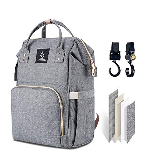 Athelain Diaper Bag,Multi-Function Waterproof Travel Backpack Nappy Bags for Baby Care, Large Capacity, Stylish and Durable (Gray)