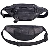 CILLA Cowhide Leather Waist Bag Large Size 7 Pockets Fanny Pack Waist Pack Organizer Belt Bag (Black B)