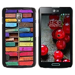 For LG Optimus L7 II P710 / L7X P714 Case , Colorful Drawing Art Messy - Diseño Patrón Teléfono Caso Cubierta Case Bumper Duro Protección Case Cover Funda