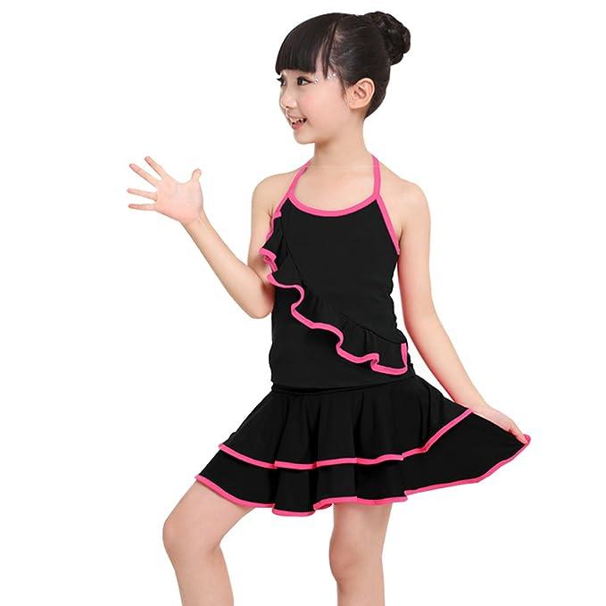 37d868d4c2ed KINDOYO Bambini Ragazze Abito da Ballo Vestito da Ballo Latino Abbigliamento  Danza Senza Maniche Top +