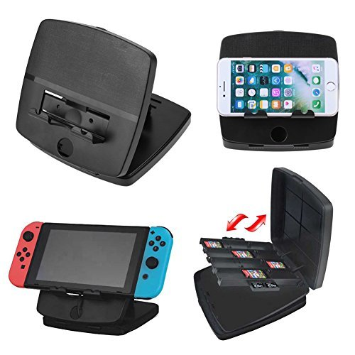 Whitelotous Fold-able Play-stand Holder Game Cards Storage Case Box For Nintendo Switch (2 Playstands)