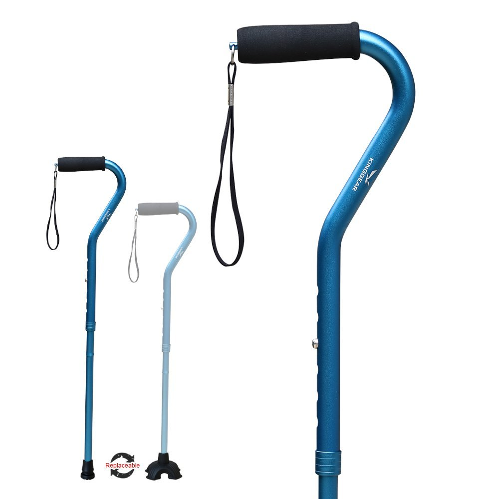 KingGear Adjustable Cane for Men & Women - Lightweight & Sturdy Offset Walking Stick - Mobility Aid for Elderly, Seniors & Handicap (Blue) by KINGGEAR (Image #1)