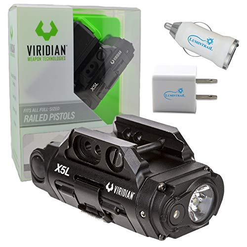 Viridian X5L Gen 3 Green Laser Sight Tactical Light Bundle with Lumintrail USB Car and Wall Adapters