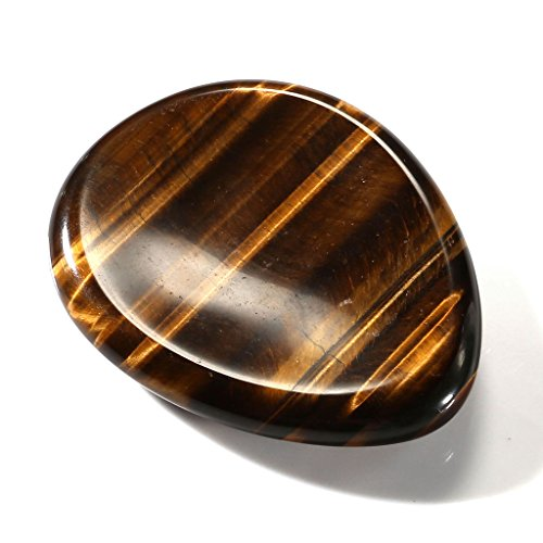 Top Plaza Thumb Worry Stone Water Drop Natural Tiger Eye Chakra Reiki Healing Crystals - Tumbled Palm ()