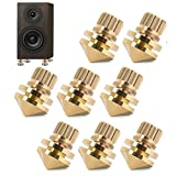 Speaker Spikes, 8 Pcs Pure Copper Anti-vibration Copper Speaker Suspension Spikes Isolation Stands Foot Base Pad