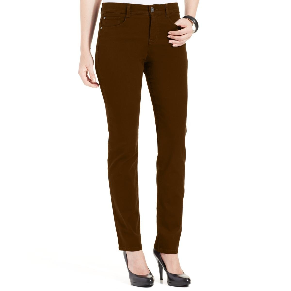Style & Co.. Womens Petites Tummy Control High Rise Slim Leg Jeans Brown 4P
