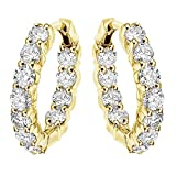 4.50 CT TW Large Diamond Inside/Outside Hoop Earrings in 14k Yellow Gold