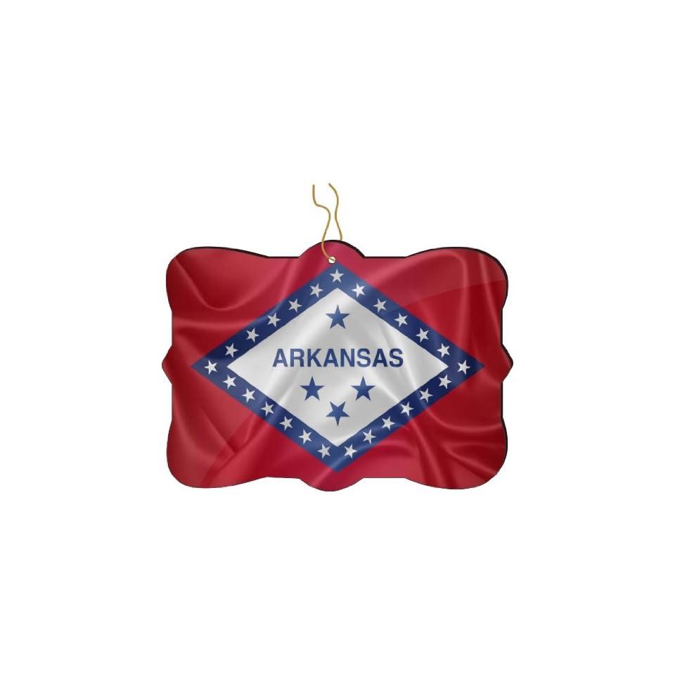 Rikki Knight RKWS SQORN 2677 Christmas Tree Ornament / Car Rear View Mirror Hanger Arkansas State Flag Design