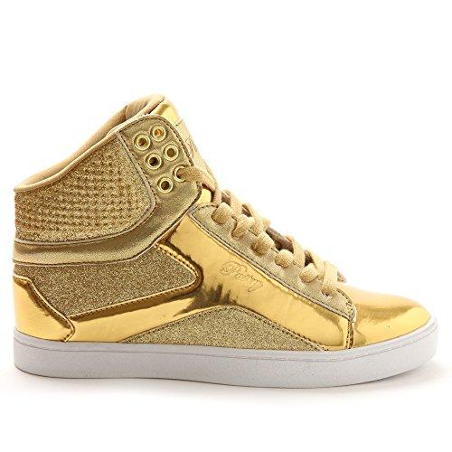Pastry Adult Pop Tart Glitter Dance Sneaker, Gold, Size 13