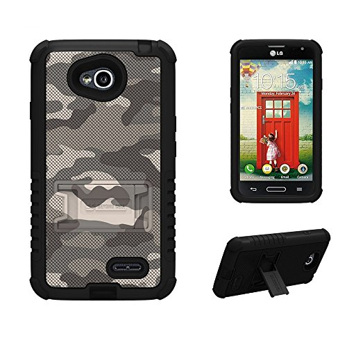 (Cell phone Case for LG Optimus Exceed II L70 (METRO PC), Beyond Cell TriShield Series 3 Protective Layers with Built-in Kick Stand, Heavy Use + Anti-Shock Pads + Accident Armor, FREE Screen Protector & - Sand Camouflage Design)