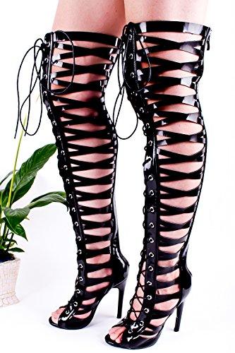 Lolli Couture Alltid Koppla Konstläder Material Dragkedja Bak Multi Utklipp Konstruktion Öppen Tå Knähöga Sandaler Blackpatent-m01-37