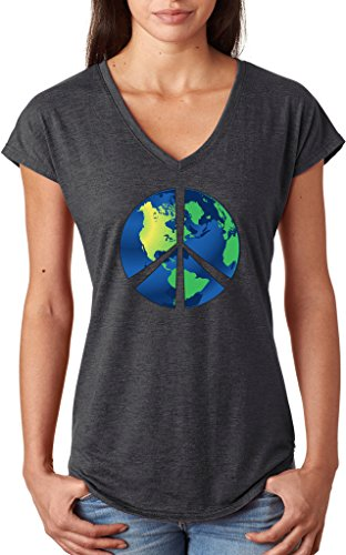 Ladies Blue Earth Peace Sign Tri Blend V-neck, Heather Dark Grey, (Blue Peace Sign Womens T-shirt)