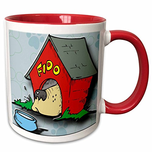 3dRose 128881_5 Fido Dog House and Bowl with Paw Print Background Two Tone Mug, 11 oz, Red (Paw Prints Ceramic Bowl)