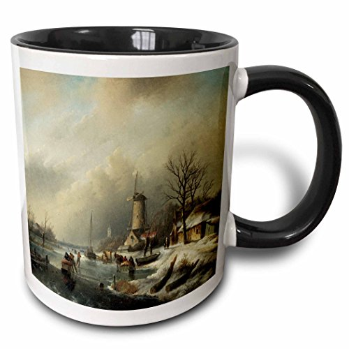 3dRose BLN Scenes of Winter Fine Art Collection - Winterlandschap met Figuren by Jan Jacob Spohler Windmill Landscape - 15oz Two-Tone Black Mug (mug_175482_9) ()