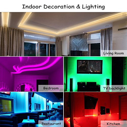Led Strip Lights 5M/16.4 Ft SMD 3528 RGB 300 LEDs Color Changing Kit Waterproof, LED Ribbon for Home/Kitchen Lighting Strips Power Adapter Included by DAYBETTER (Image #2)
