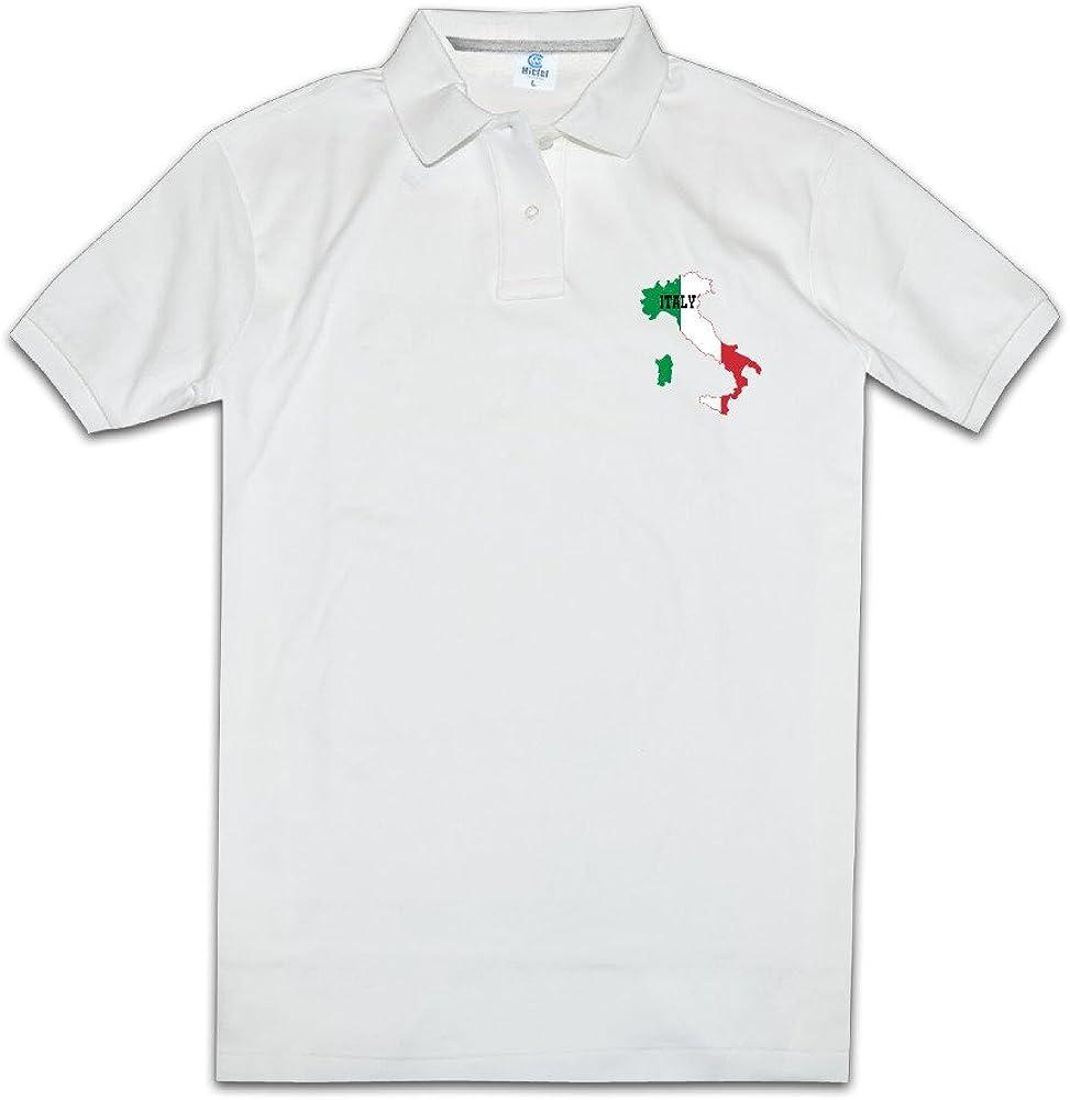 Italian USA Flag Heart Mens Short Sleeve Polo Shirt Regular Blouse Sport Tee