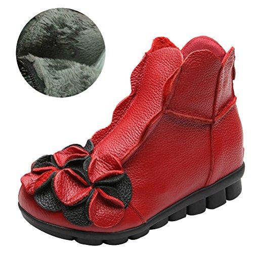 Fleece Boots Style1 Leder Vintage Kurze Stiefel Rot Blumen MatchLife Damen nBwPqOHOz