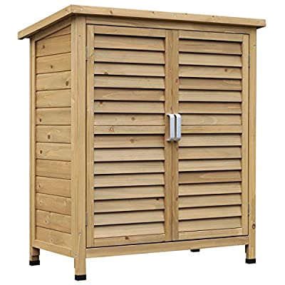 Outsunny Wooden Patio Storage Cabinet
